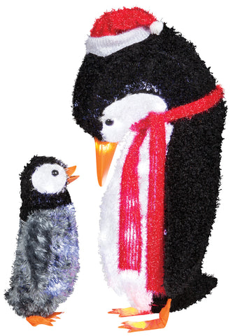 3' Fuzzy Plush Mommy & Baby Penguin
