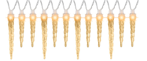 Synchronized White Icicle String Lights 12-Count