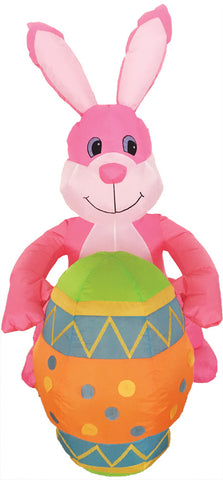 4' Inflatable Pink Bunny with Egg