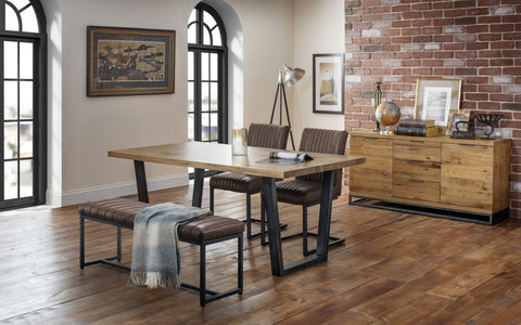 Solid Oak And Leather Dining Set