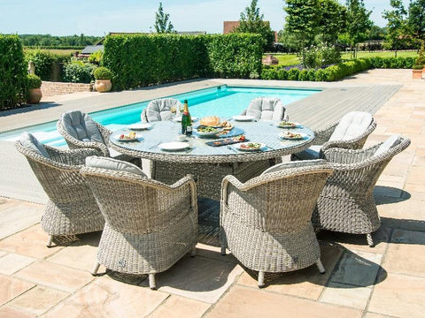 Maze Rattan Oxford 8 Seat Round Fire Pit Dining Set With Heritage Chairs With Lazy Susan-Better Store