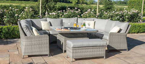 Maze Rattan Oxford Royal U Shaped Sofa Set With Fire Pit-Better Bed Company