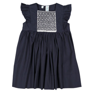 NAVY SMOCKED FLUTTER SLEEVE DRESS