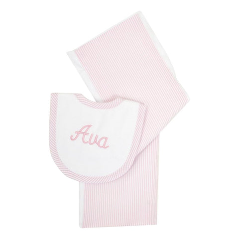 SEERSUCKER STRIPE DROOLER BIB & BURP SET