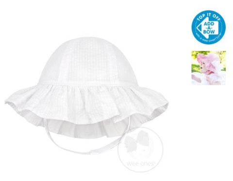 GIRLS REVERSIBLE SEERSUCKER SUN HAT - WHITE