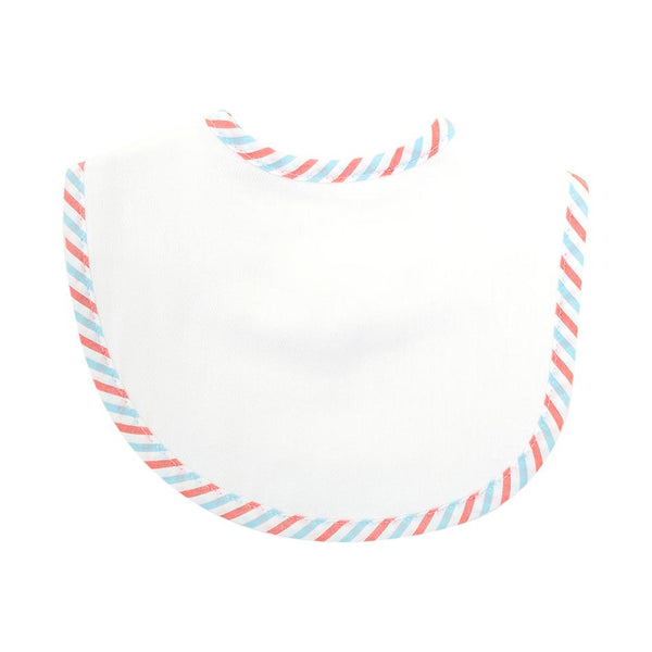 SEERSUCKER STRIPE BURP CLOTH BASIC BIB