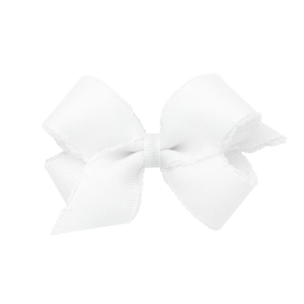 Mini Grosgrain Bow with White Moonstitch Edge