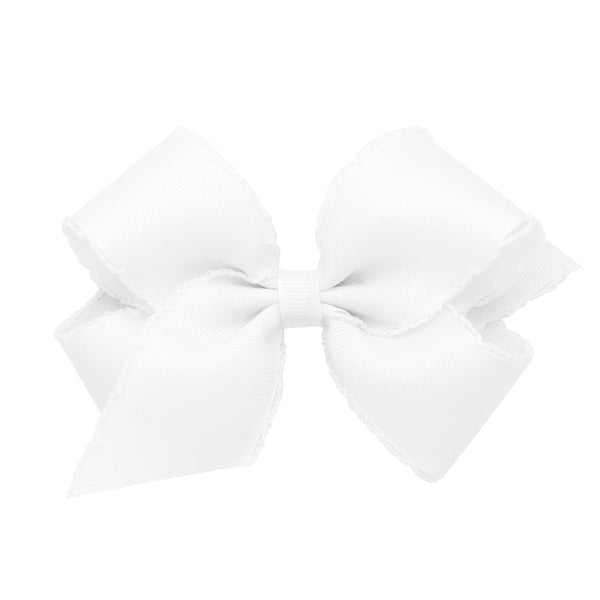 Medium Grosgrain Bow with White Moonstitch Edge