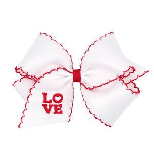 KING GROSGRAIN BOW WITH LOVE EMBROIDERY DETAIL