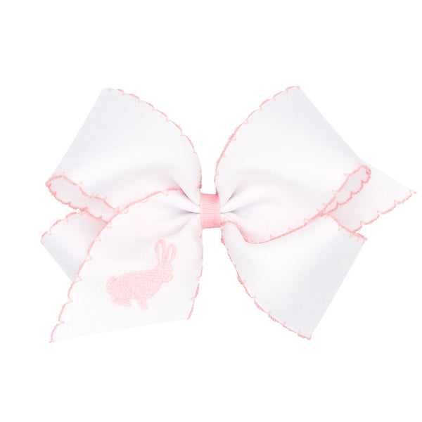 KING GROSGRAIN BOW WITH BUNNY EMBROIDERY