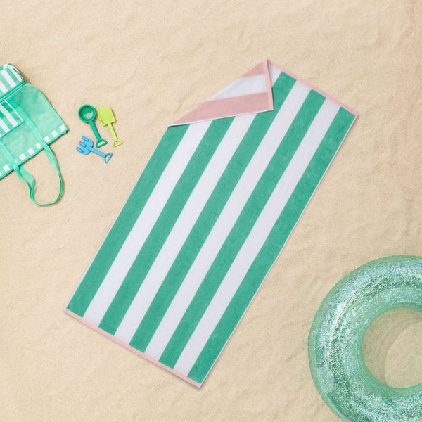REVERSIBLE CABANA STRIPED BEACH TOWELS