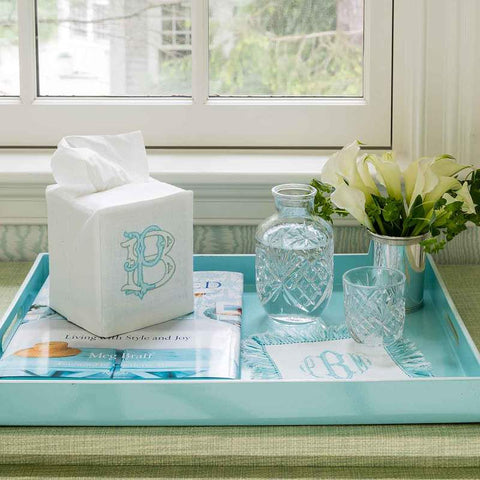 WHITE LINEN TISSUE BOX COVER