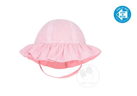 Girls Reversible Ruffle Brim Seersucker Sun Hat - Pink