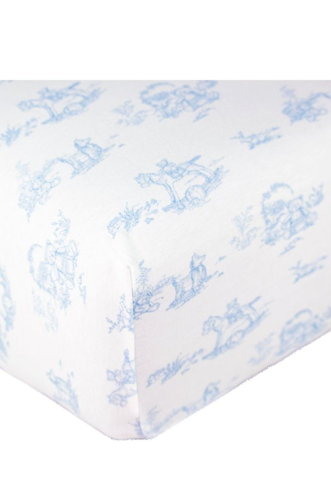 BLUE TOILE BABY CRIB SHEETS