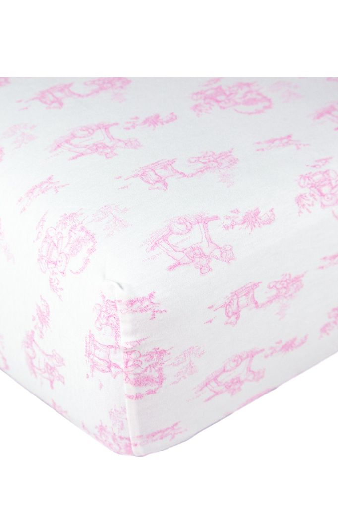 PINK TOILE BABY CRIB SHEETS