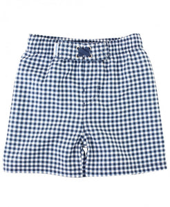 Navy Gingham Swim Trunks