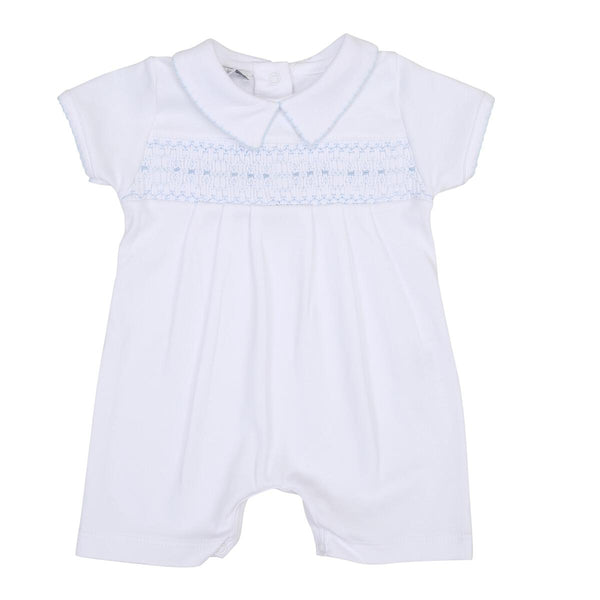 Classics Blue Smocked Collared Short Playsuit