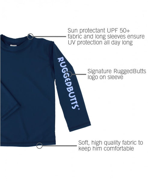Navy Logo Long Sleeve Rash Guard
