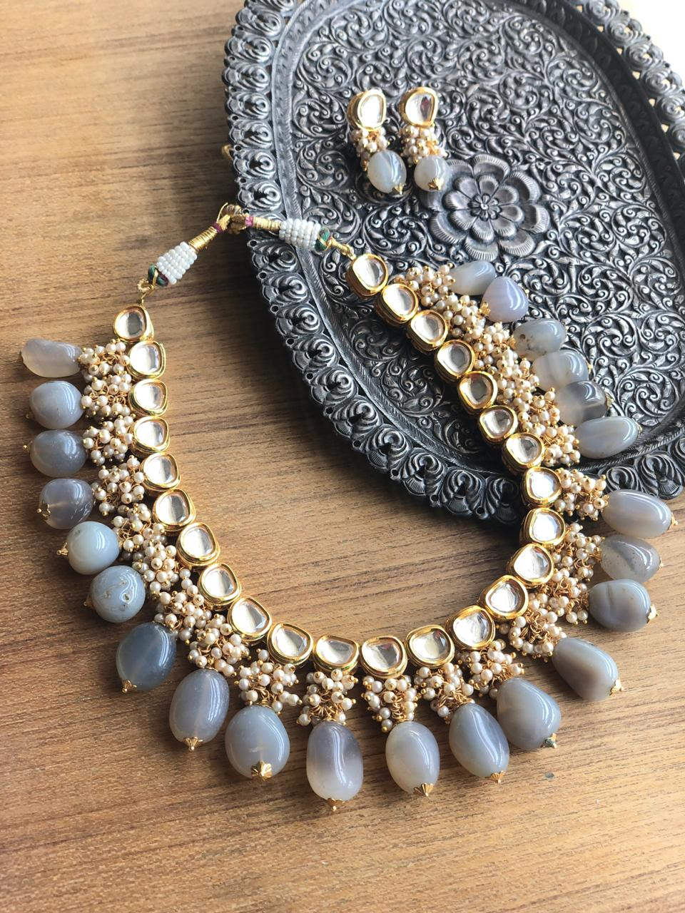 Unique Grey Kundan Necklace