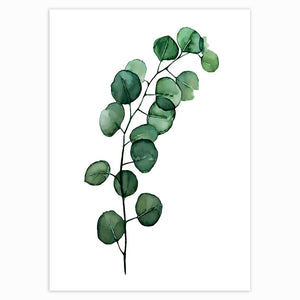 Scandinavian Style Tropical Plants Poster Green Leaves Decorative Picture Modern Wall Art Paintings for Living Room Home Decor