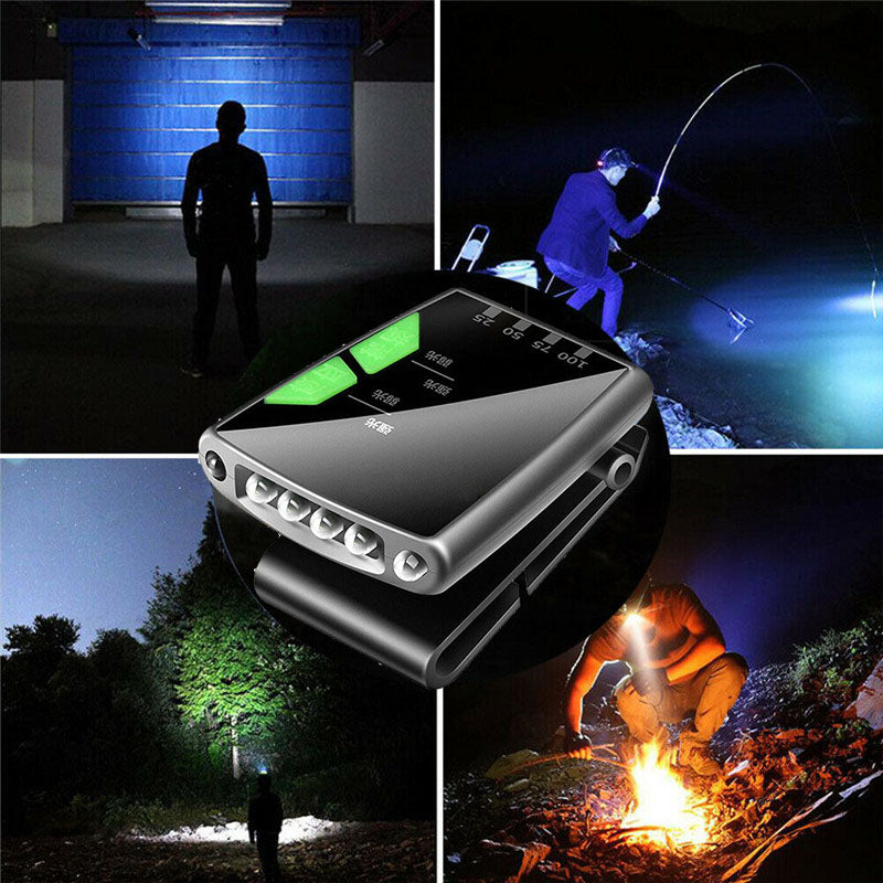 Rechargeable portable LED fishing camp hiking hat clip light