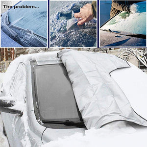 Car windshield snow and sun protection cover