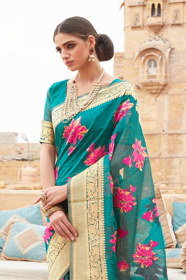 Forest Green Pure Linen Silk Saree And Zari Detailing Blouse - RangNeeti - A Complete Online Store for Designer Silk Sarees
