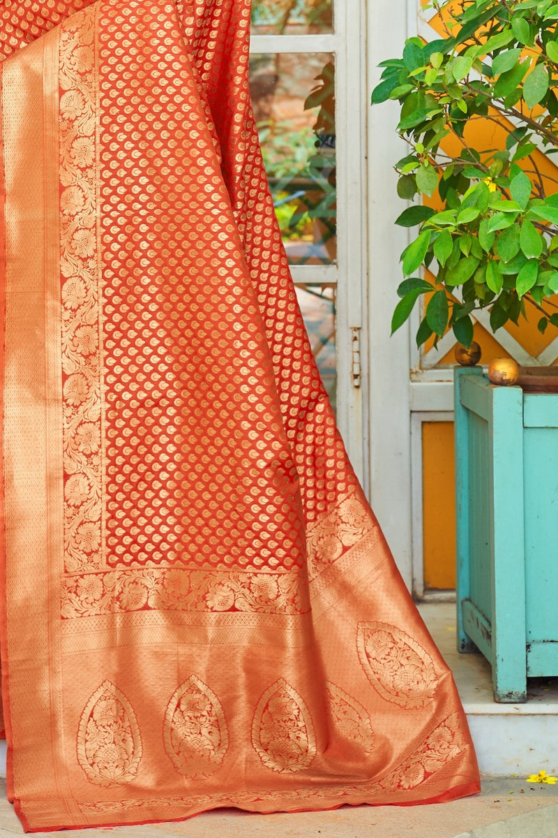 Tiger Orange Handloom Weaving Soft Silk Saree With Zari Detailing Blouse