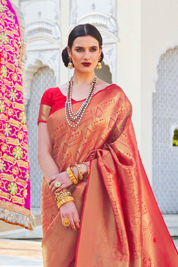 CANDY APPLE RED PURE WOVEN KANJIVARAM SILK SAREE WITH DESIGNER ZARI DETAILING BLOUSE - RangNeeti - A Complete Online Store for Designer Silk Sarees