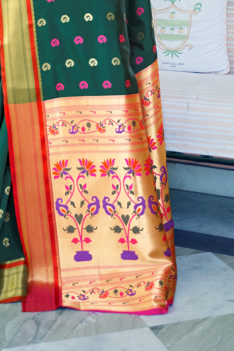 Pine Green Handloom Weaving Paithani Saree With Rich Golden Zari Detailing And Contrast Pink Blouse - RangNeeti - A Complete Online Store for Designer Silk Sarees