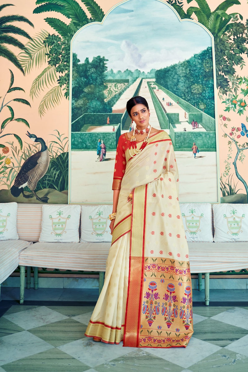Shimmer White Handloom Weaving Paithani Saree With Rich Golden Zari Detailing And Contrast Red Blouse - RangNeeti - A Complete Online Store for Designer Silk Sarees