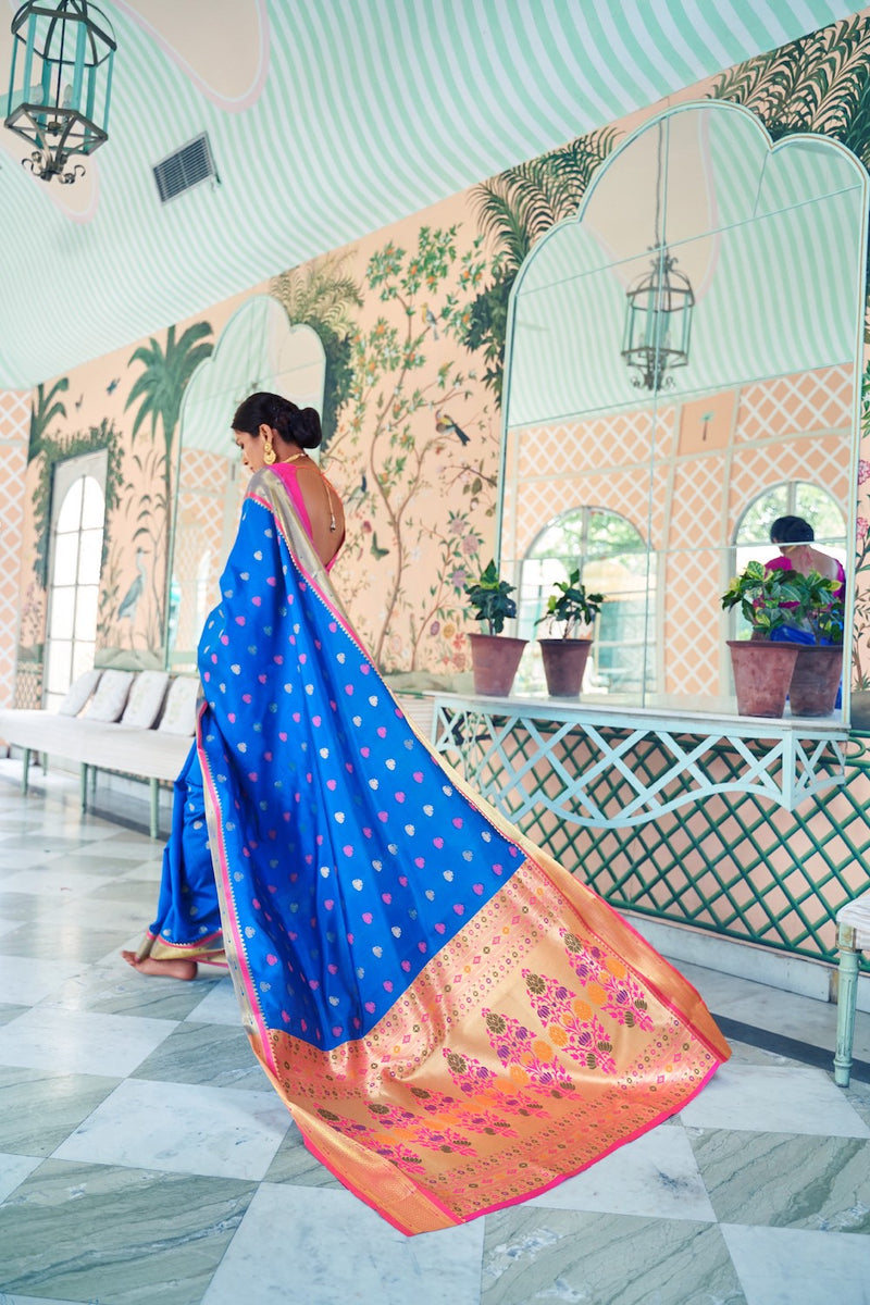 Blueberry Blue Handloom Weaving Paithani Saree With Rich Golden Zari Detailing And Contrast Pink Blouse - RangNeeti - A Complete Online Store for Designer Silk Sarees