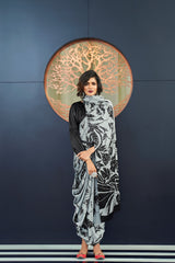 Silver Black Satin Crepe Saree with Black Satin Blouse - RangNeeti - A Complete Online Store for Designer Silk Sarees