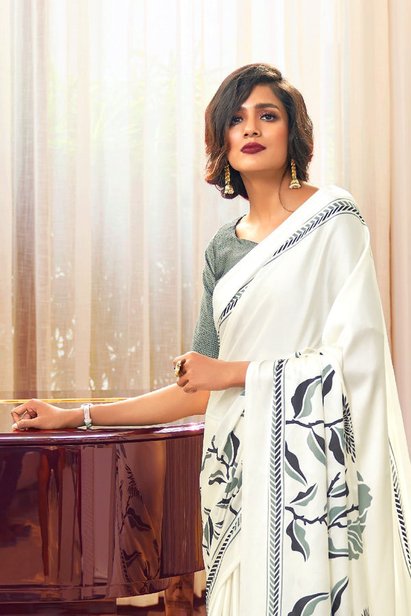 White Grey Satin Crepe Saree with Grey Satin Blouse - RangNeeti - A Complete Online Store for Designer Silk Sarees