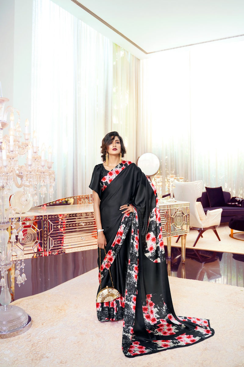Black and Red Flower Satin Crepe Saree with Black Satin Blouse - RangNeeti - A Complete Online Store for Designer Silk Sarees
