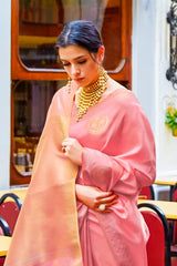 Rose Pink Shimmering Handloom Weaving Pure Silk Saree with Rich Zari Border and Zari Detailing Blouse - RangNeeti - A Complete Online Store for Designer Silk Sarees