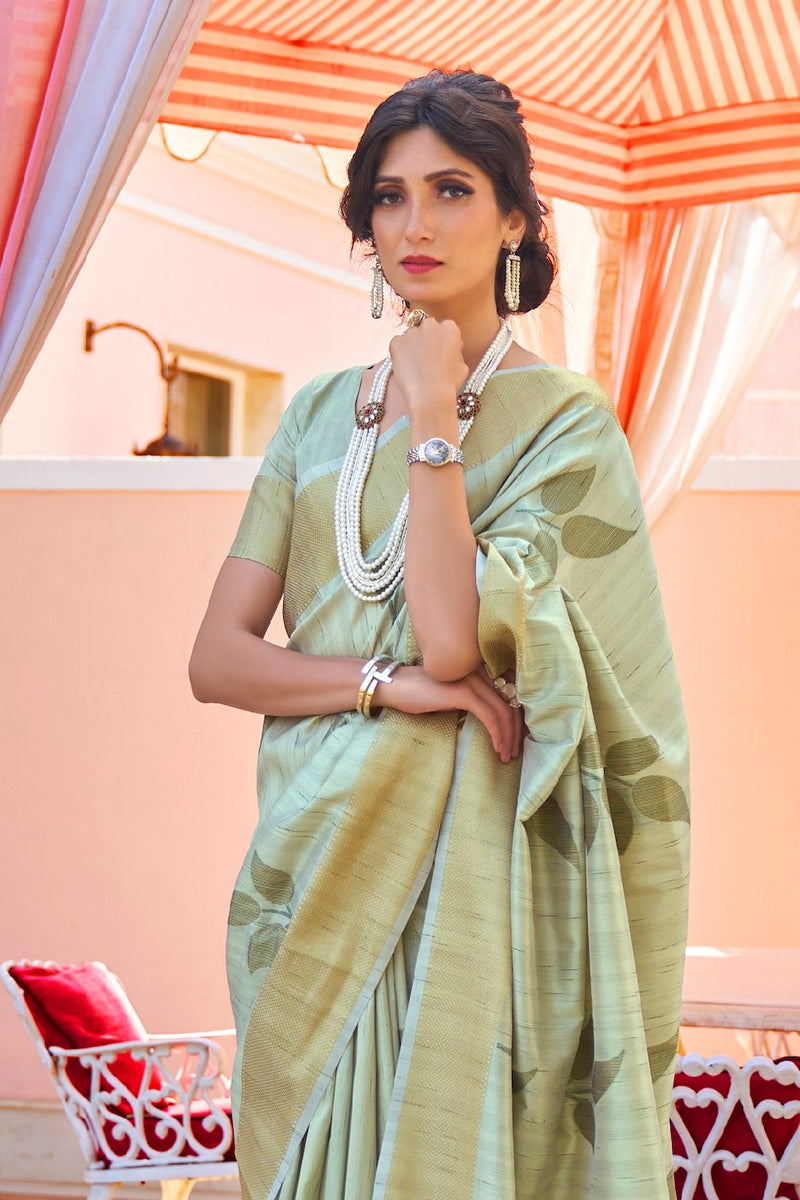 Olive Green Soft Handloom Weaving Silk Saree With Zari Border Blouse