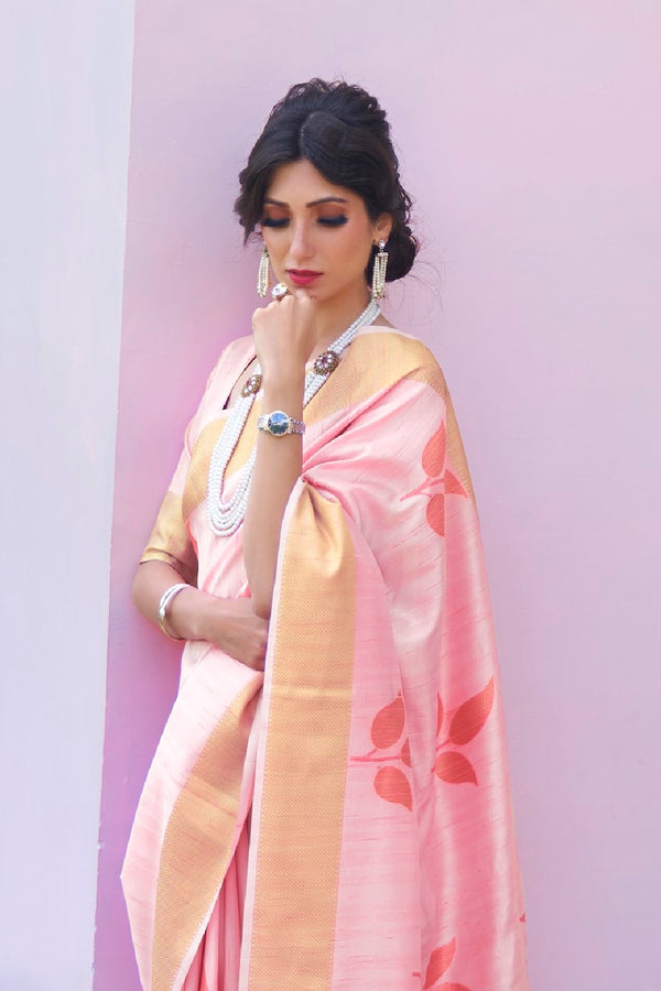 Blush Pink Soft Handloom Weaving Silk Saree With Zari Border Blouse