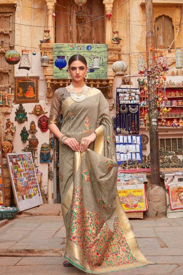 Walnut Brown Pure Linen Saree with Multicolor Weaving Border and Gold Zari Border Blouse - RangNeeti - A Complete Online Store for Designer Silk Sarees