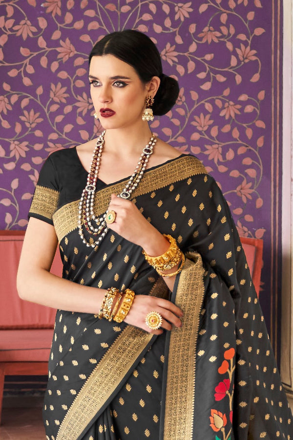 Zed Black Pure Woven Soft Silk Saree with Colored Motifs and Zari Detailing Blouse - RangNeeti - A Complete Online Store for Designer Silk Sarees