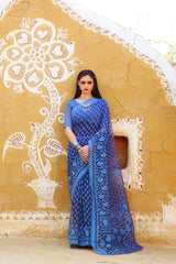 Navy Blue Brasso Saree with Sky Blue Weaving Patterns and Blue Brasso Weaving Blouse - RangNeeti - A Complete Online Store for Designer Silk Sarees