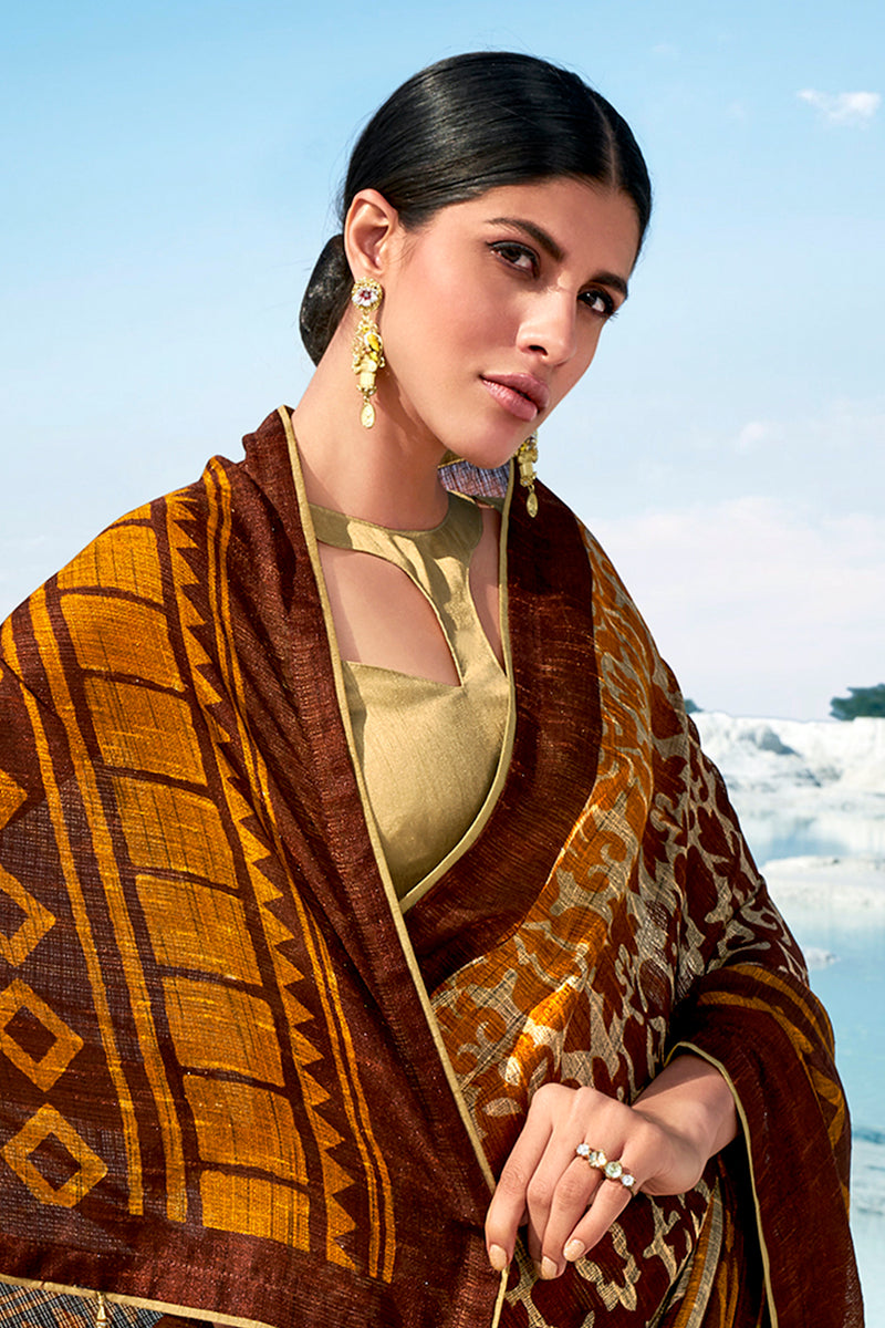 Brown Pure Jute Linen Weaving Printed Saree with Contrast Golden Blouse - RangNeeti - A Complete Online Store for Designer Silk Sarees