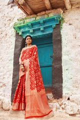 Flame Red Double Ikat Weave Patola Silk Saree with Contrast Zari Detailing Blouse - RangNeeti - A Complete Online Store for Designer Silk Sarees