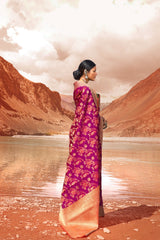 Queen Magenta Double Ikat Weave Patola Silk Saree with Orange Contrast Zari Detailing Blouse - RangNeeti - A Complete Online Store for Designer Silk Sarees