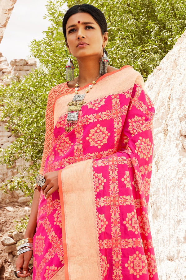Dark Pink Double Ikat Weave Patola Silk Saree with Orange Contrast Zari Detailing Blouse - RangNeeti - A Complete Online Store for Designer Silk Sarees