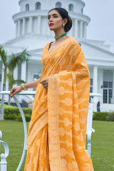 Gold Yellow Lucknowi Soft Weaving Saree With Jacquard Weaving Blouse