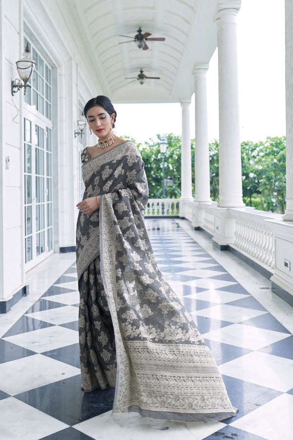 Charcoal Grey Lucknowi Soft Weaving Saree With Jacquard Weaving Blouse