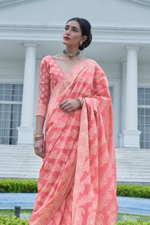 Cherry Pink Lucknowi Soft Weaving Saree With Jacquard Weaving Blouse