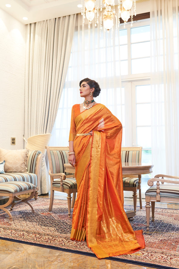 Gold Orange Ultra Soft Kanjivaram Silk Saree With Zari Detailing Blouse