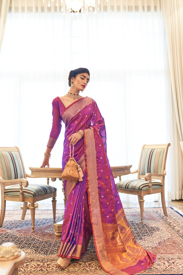 Royal Purple Ultra Soft Kanjivaram Silk Saree With Zari Detailing Blouse